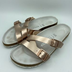 Birkenstock Yao Hex Metallic Slide Sandals size 40